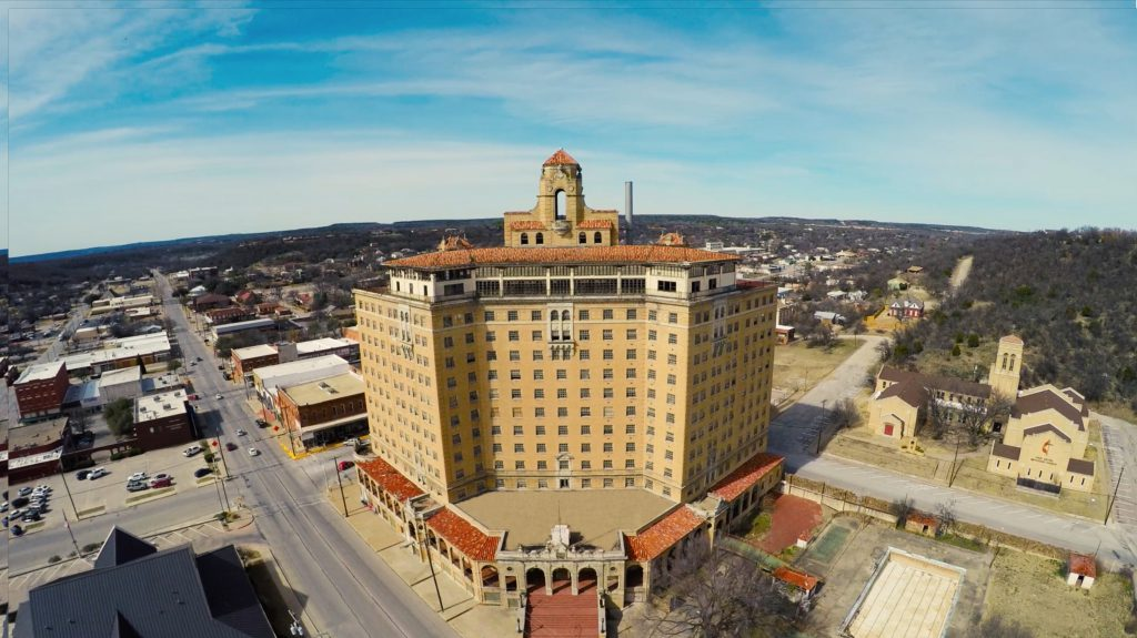 Aerial View of The Baker Hotel in Mineral Wells