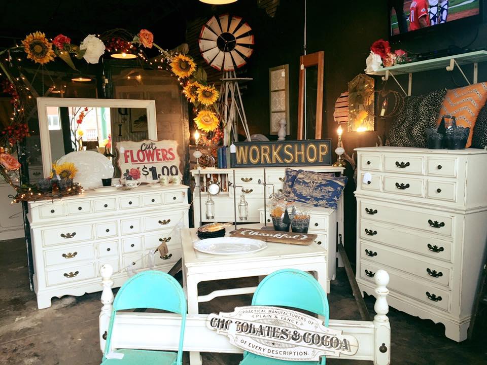 Vignette of furniture in resale store