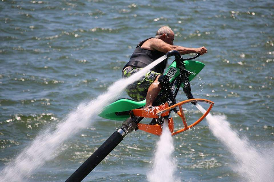 Man on hydro jet on lake